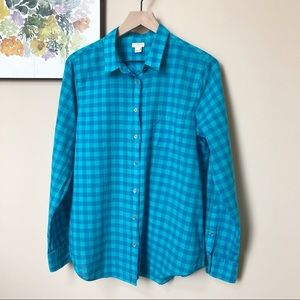 J. Crew Blue Teal Gingham Button Up Shirt Size L